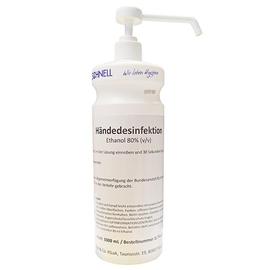 Dr. Schnell Händedesinfektion 1 Liter Flasche mit Sprühnebelpumpe / weiß (FL=1 LITER) Produktbild