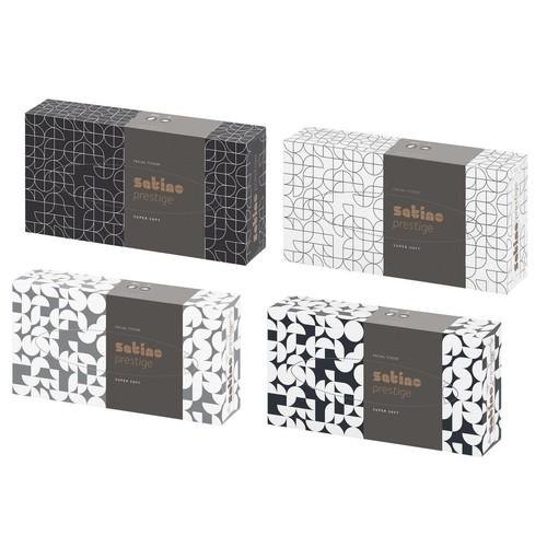 Kosmetiktücher Einzelpackung 2-lagig / 21x20,5cm / hochweiß / Satino Prestige (KTN=100 STÜCK) Produktbild Front View L