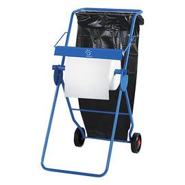 Bodenständer für Putzrollen bis Ø40cm / blau / fahrbar / 49x72x107cm / Kunststoff / Papernet Produktbild