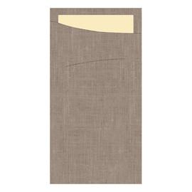 Serviettentaschen Sacchetto Dunisoft 11,5x23cm / greige / Serviette cream / Duni (PACK=60 STÜCK) Produktbild