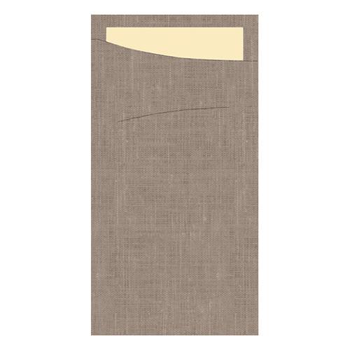 Serviettentaschen Sacchetto Dunisoft 11,5x23cm / greige / Serviette cream / Duni (PACK=60 STÜCK) Produktbild Front View L