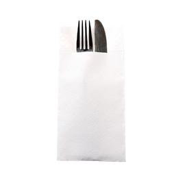 Besteckserviettentaschen Tissue Deluxe 1/8 Falz / 40x40cm / 4-lagig / weiß (PACK=75 STÜCK) Produktbild