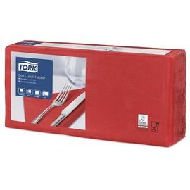 Servietten Soft 1/4 Falz / 33x33cm / 3-lagig / rot / Tork 477861 (PACK=150 STÜCK) Produktbild
