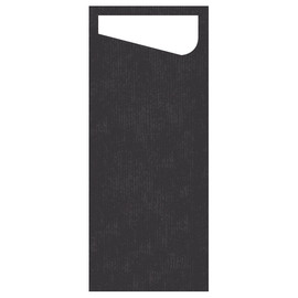 Serviettentaschen Sacchetto Dunisoft 11,5x23cm / schwarz / Serviette weiß / Duni (PACK=60 STÜCK) Produktbild
