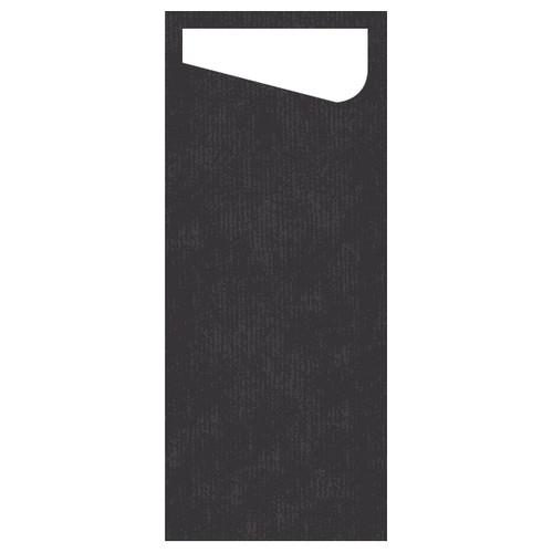 Serviettentaschen Sacchetto Dunisoft 11,5x23cm / schwarz / Serviette weiß / Duni (PACK=60 STÜCK) Produktbild Front View L