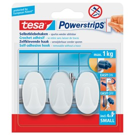 Powerstrips Haken Small Oval bis 1kg Haftkraft weiß Tesa 57533-00016-01 (PACK=3 STÜCK) Produktbild
