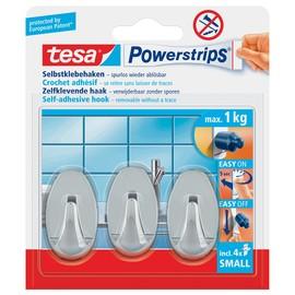 Powerstrips Haken Small Oval bis 750g Haftkraft chrom Tesa 57543-00012-01 (PACK=3 STÜCK) Produktbild