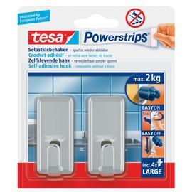Powerstrips Haken Large Classic bis 2kg Haftkraft chrom Tesa 58051-00010-01 (PACK=2 STÜCK) Produktbild