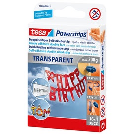 Powerstrips Deco-Streifen bis 200g Haftkraft transparent Tesa 58800-00012-03 (PACK=16 STÜCK) Produktbild