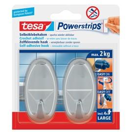Powerstrips Haken Large Oval bis 2kg Haftkraft chrom Tesa 58050-00012-01 (PACK=2 STÜCK) Produktbild