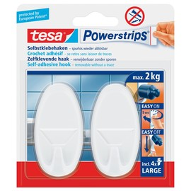 Powerstrips Haken Large Oval bis 2kg Haftkraft weiß Tesa 58013-00049-01 (PACK=2 STÜCK) Produktbild