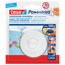 Powerstrips Decken-Haken bis 500g Haftkraft weiß Tesa 58029-00020-04 Produktbild
