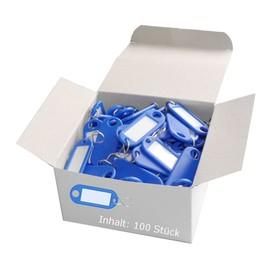 Schlüsselanhänger mit S-Haken und auswechselbaren Etiketten 52x21x3mm blau Kunststoff Wedo 262.8034.03 Produktbild