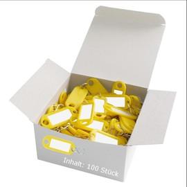 Schlüsselanhänger mit S-Haken und auswechselbaren Etiketten 52x21x3mm gelb Kunststoff Wedo 262.8034.05 Produktbild