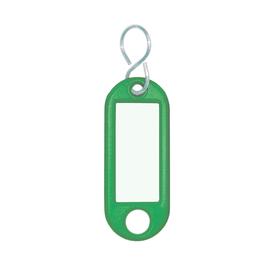 Schlüsselanhänger mit S-Haken und auswechselbaren Etiketten 52x21x3mm grün Kunststoff Wedo 262.8034.04 Produktbild