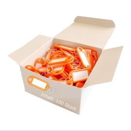 Schlüsselanhänger mit S-Haken und auswechselbaren Etiketten 52x21x3mm orange Kunststoff Wedo 262.8034.06 Produktbild