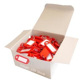 Schlüsselanhänger mit S-Haken und auswechselbaren Etiketten 52x21x3mm rot Kunststoff Wedo 262.8034.02 Produktbild