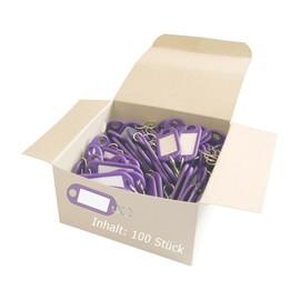 Schlüsselanhänger mit S-Haken und auswechselbaren Etiketten 52x21x3mm violett Kunststoff Wedo 262.8034.08 Produktbild