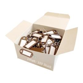 Schlüsselanhänger mit S-Haken und auswechselbaren Etiketten 52x21x3mm braun Kunststoff Wedo 262.8034.07 Produktbild