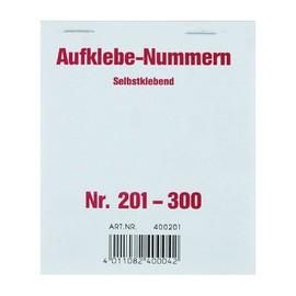 Aufklebenummern fortlaufend 201-300 selbstklebend Wolf & Appenzeller 400201 Produktbild