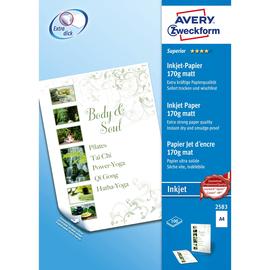 Papier Inkjet Superior A4 170g weiß beidseitig matt Zweckform 2583 (PACK=100 BLATT) Produktbild