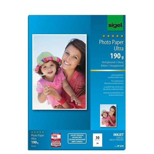 Fotopapier Inkjet Ultra A4 190g superweiß high-glossy Sigel IP639 (PACK=50 BLATT) Produktbild Additional View 1 L