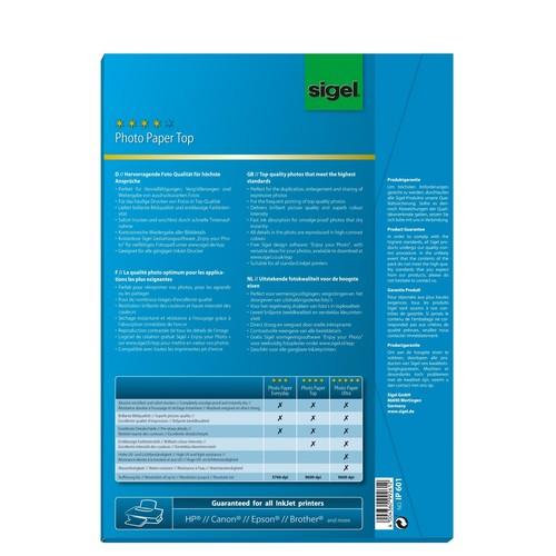Fotopapier Inkjet Top A4 170g hochweiß high-glossy Sigel IP601 (PACK=50 BLATT) Produktbild