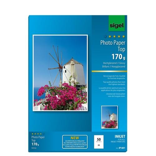 Fotopapier Inkjet Top A4 170g hochweiß high-glossy Sigel IP601 (PACK=50 BLATT) Produktbild Additional View 1 L
