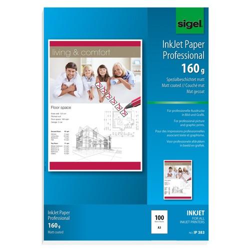 Fotopapier Inkjet A3 160g hochweiß matt Sigel IP383 (PACK=100 BLATT) Produktbild Additional View 1 L