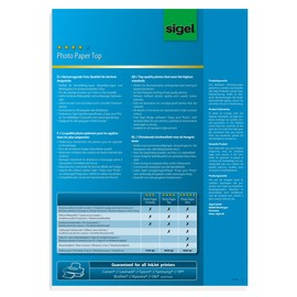 Fotopapier Inkjet Top A3 210g hochweiß high-glossy Sigel IP356 (PACK=50 BLATT) Produktbild