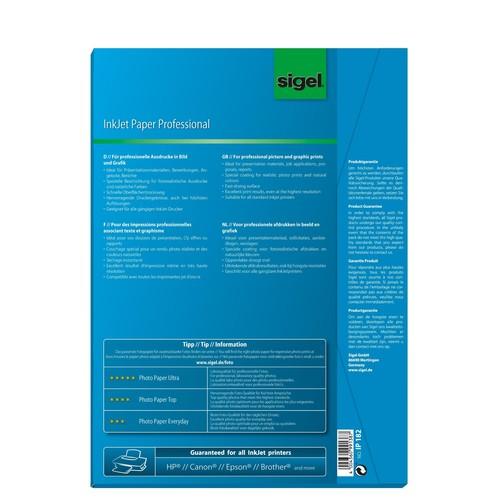 Fotopapier Inkjet A4 120g hochweiß matt Sigel IP182 (PACK=50 BLATT) Produktbild