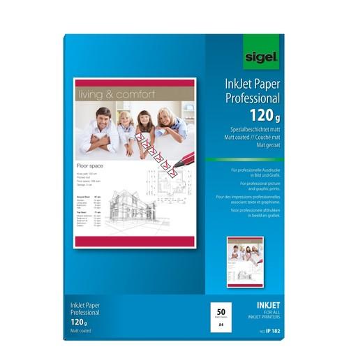 Fotopapier Inkjet A4 120g hochweiß matt Sigel IP182 (PACK=50 BLATT) Produktbild Additional View 1 L