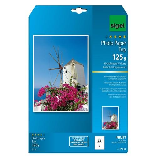 Fotopapier Inkjet Top A4 125g hochweiß high-glossy Sigel IP663 (PACK=25 BLATT) Produktbild Additional View 1 L