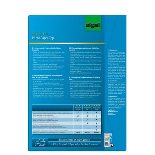 Fotopapier Inkjet Top A4 125g hochweiß high-glossy Sigel IP664 (PACK=100 BLATT) Produktbild
