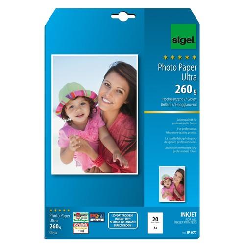 Fotopapier Inkjet Ultra A4 260g superweiß high-glossy Sigel IP677 (PACK=20 BLATT) Produktbild Additional View 1 L