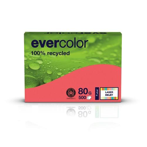 Kopierpapier Evercolor Intensiv A4 80g himbeerrot recycling (PACK=500 BLATT) Produktbild Front View L
