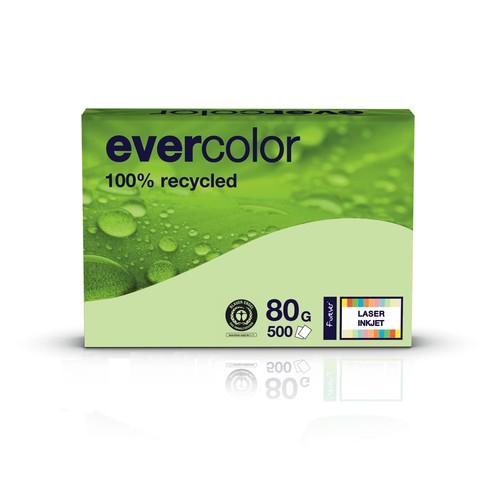Kopierpapier Evercolor Pastell A4 80g hellgrün recycling (PACK=500 BLATT) Produktbild Front View L