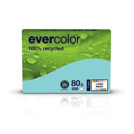 Kopierpapier Evercolor Pastell A4 80g hellblau recycling 88089375 (PACK=500 BLATT) Produktbild