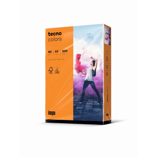 Kopierpapier tecno colors 24 A3 80g orange Intensivfarben (PACK=500 BLATT) Produktbild Front View L