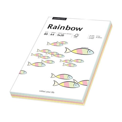Kopierpapier Rainbow Pastell A4 80g 5 Farben sortiert 88043187 (PACK=100 BLATT) Produktbild Front View L