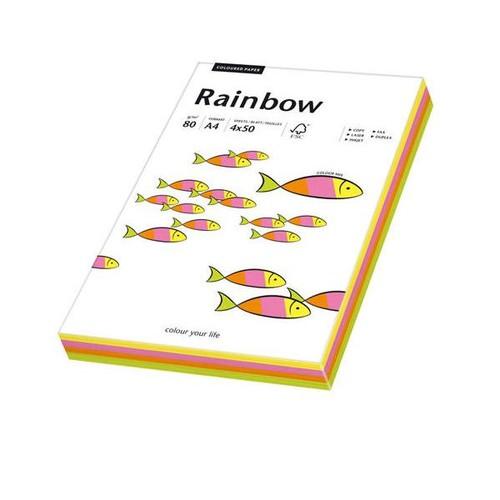 Kopierpapier Rainbow Fluofarben A4 80g 4 Farben sortiert TCF 88043191 (PACK=4x 50 BLATT) Produktbild Front View L