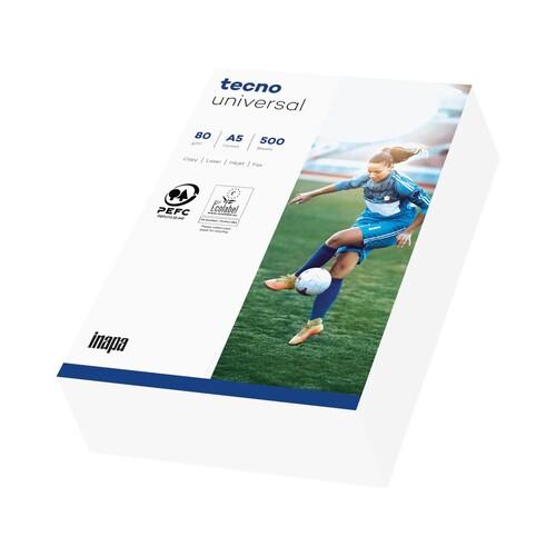 Kopierpapier tecno Universal A5 80g weiß FSC EU-Ecolabel 153CIE (PACK=500 BLATT) Produktbild Front View L