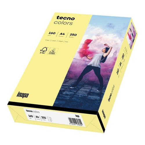 Kopierpapier tecno colors 12 A4 160g hellgelb Pastellfarben (PACK=250 BLATT) Produktbild Front View L