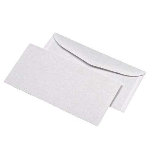 Kuvertierhülle nassklebend weiß 75g/m2 DIN lang+ 114x229mm / ohne Fenster / mit außenliegender Seitenklappe (PACK=1000 STÜCK) Produktbild Front View L