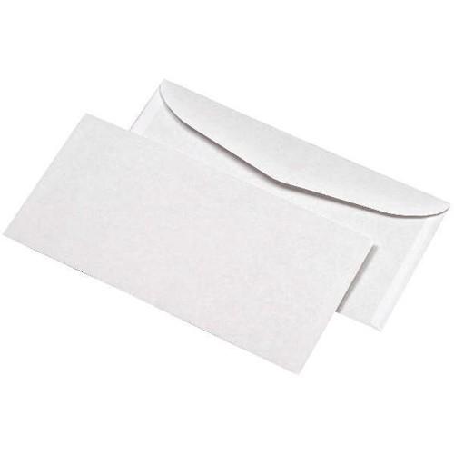 Kuvertierhülle ohne Fenster 114x229mm außenliegende Seitenklappe nassklebend 80g weiß (PACK=1000 STÜCK) Produktbild Front View L