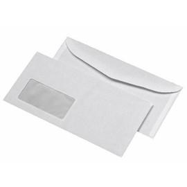 Kuvertierhülle mit Fenster 114x229mm außenliegende Seitenklappe nassklebend 80g weiß (PACK=1000 STÜCK) Produktbild