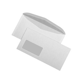 Kuvertierhülle nassklebend weiß 75g/m2 DIN lang+ 114x229mm / mit Fenster / mit innenliegender Seitenklappe (PACK=1000 STÜCK) Produktbild