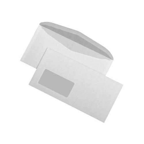 Kuvertierhülle mit Fenster 114x229mm innenliegende Seitenklappe nassklebend 75g weiß (PACK=1000 STÜCK) Produktbild Front View L