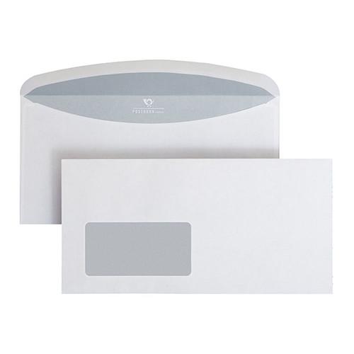 Kuvertierhülle mit Fenster 114x229mm nassklebend weiß 75g Posthorn mit außenliegende Seitenklappen (PACK=1000 STÜCK) Produktbild