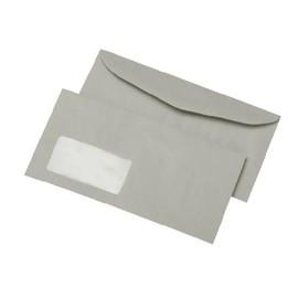 Kuvertierhülle nassklebend grau 75g/m2 DIN lang+ 114x229mm / mit Fenster / mit außenliegender Seitenklappe (PACK=1000 STÜCK) Produktbild